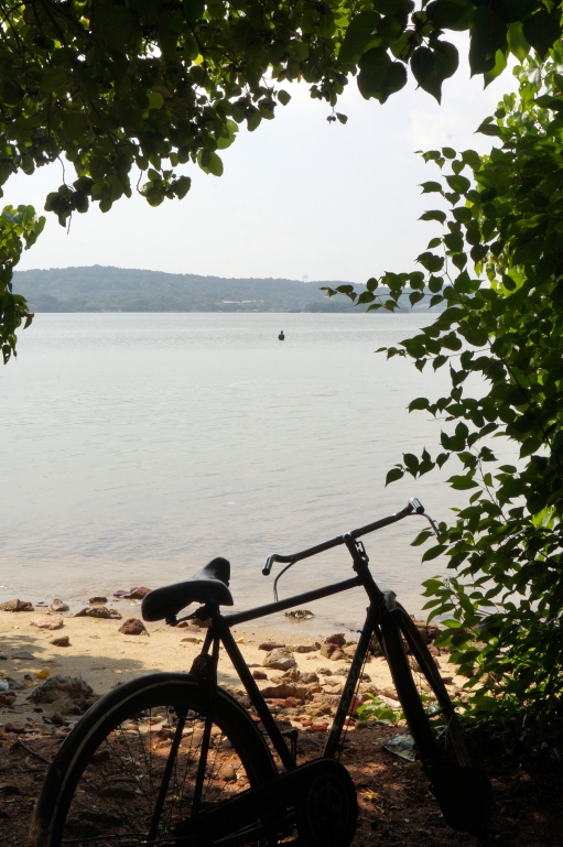 A fisherman and his bicycle.