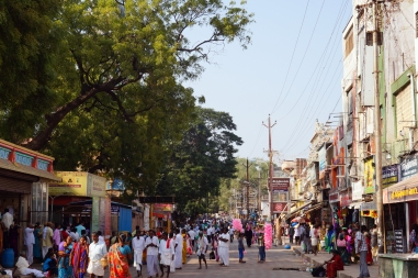 The busy streets around the temple in the day