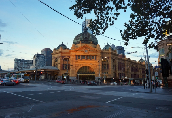 Flinders St Station at dawn