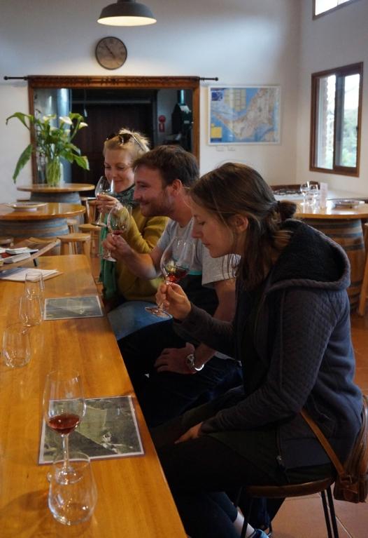 Sampling some lovely wines at Main Ridge Estate