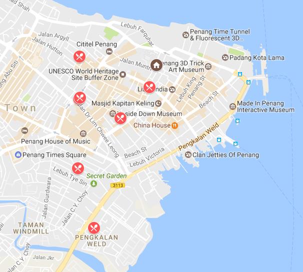 Penang Food Trail Map